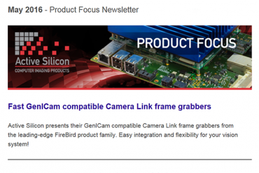 NEWSLETTER-Active-Silicon-full-support-for-GenICam-CoaXPress-Camera-Link-frame-grabber-May-2016
