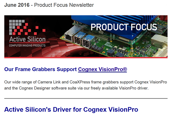 Product Focus Newsletter: Active Silicon support for Cognex