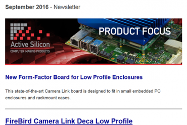 NEWSLETTER-Active-Silicon-new-low-profile-Camera-Link-deca-frame-grabber-firebird-September-2016