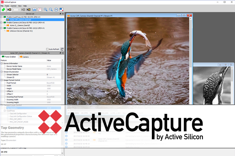 ActiveCapture software for Firebird frame grabbers – for image acquisition, analysis and display