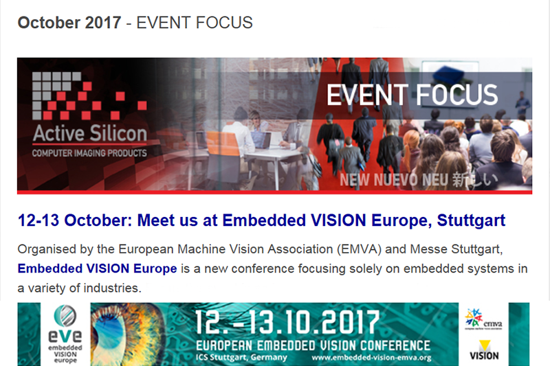 October newsletter outlines Embedded VISION Europe