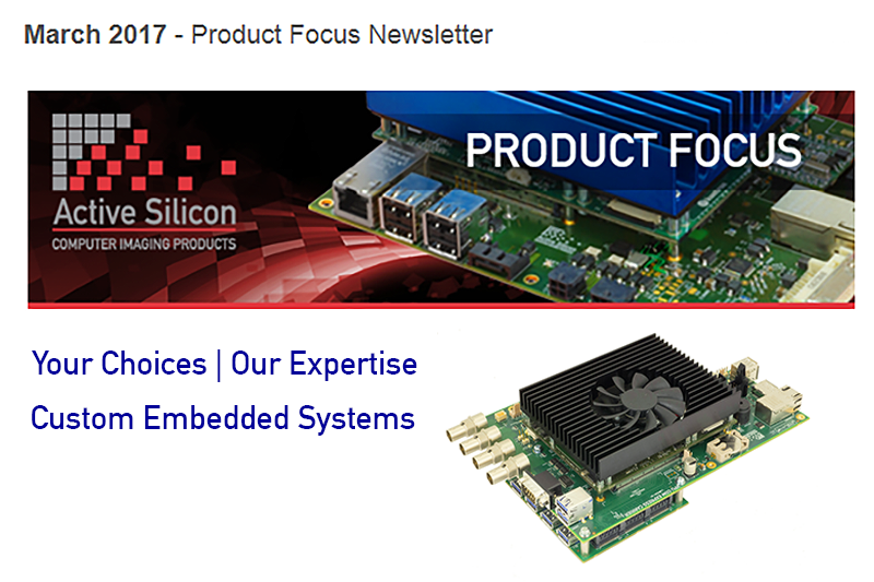 Screenshot of Active Silicon's March newsletter - Com Express embedded system