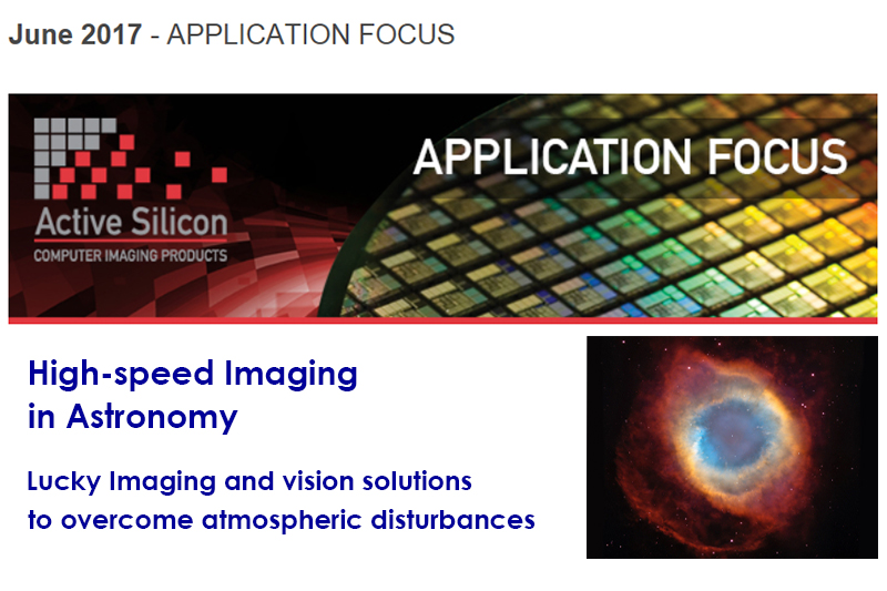 Screenshot of Active Silicon's June newsletter about high-speed imaging in astronomy