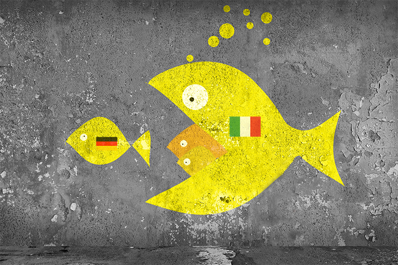 Symbolic fish representing the swallowing, or acquisition, of the camera OEMs Tattile, Mikrotron, Lakesight Technologies and now Chromasens