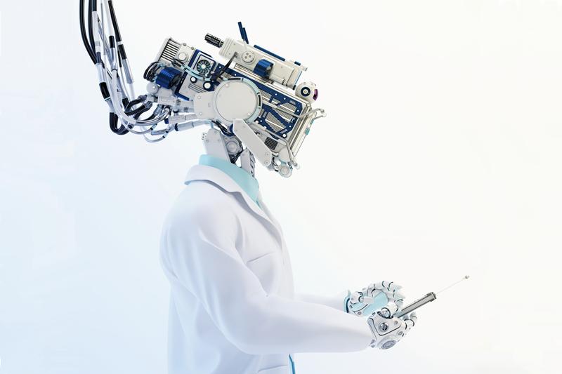 Futuristic robotic AI doctor