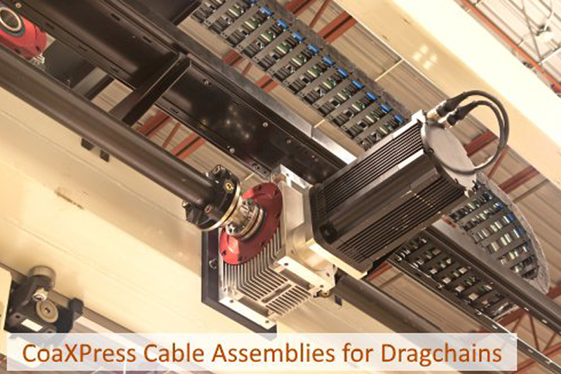 CoaXPress cable assemblies for dragchains