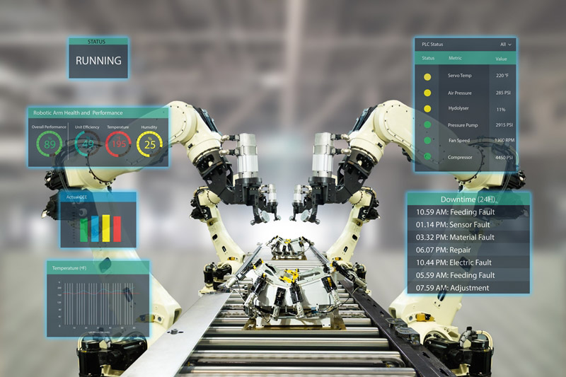 IoT industry 4.0 concept. Smart factory using automation robotic arms with augmented mixed virtual reality technology