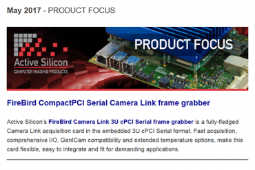 NEWSLETTER-Active-Silicon-CompactPCI-Serial-Camera-Link-frame-grabber-May-2017