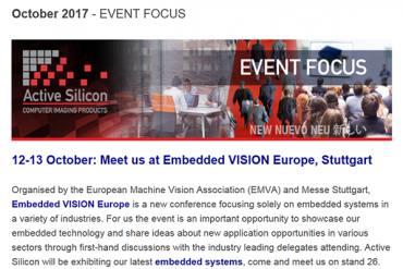 NEWSLETTER-Active-Silicon-at-embedded-vision-europe-EVE-stuttgart-October-2017