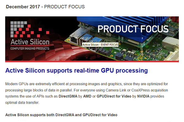 NEWSLETTER-Active-Silicon-presents-GPU-solutions-December-2017