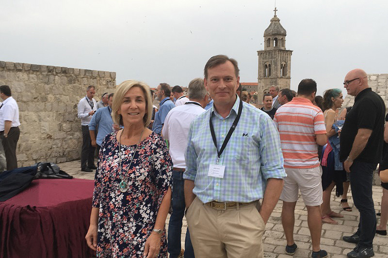 Active Silicon CEO, Colin Pearce and Director of North American Operations, Eileen Zell at the 2018 EMVA Business conference drinks reception at the Walls of Dubrovnik.