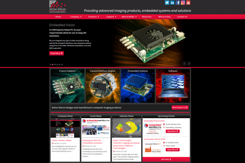 Screenshot of Active Silicon's new website
