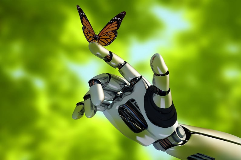 Robot arm reaches out for a butter fly - AI and computer vision make the world a better place