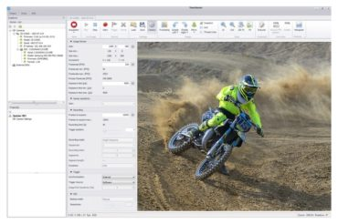 screen shot showing Optronis software capturing moving motorcycle along with features of the software