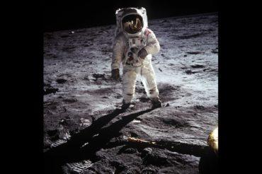 Image of astronaut walking on the moon
