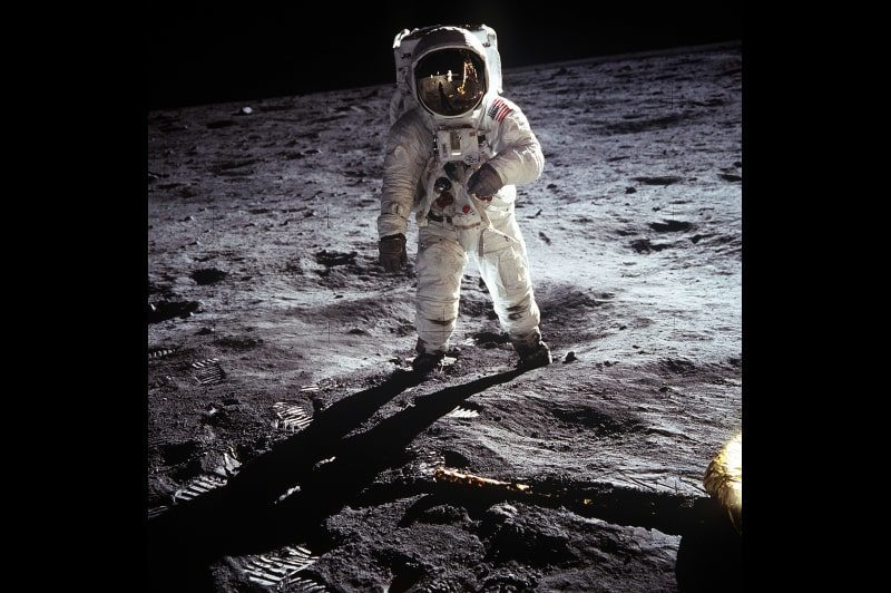 Image of astronaut walking on the moon