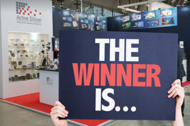 Active Silicon booth at VISION 2018 with winner placard