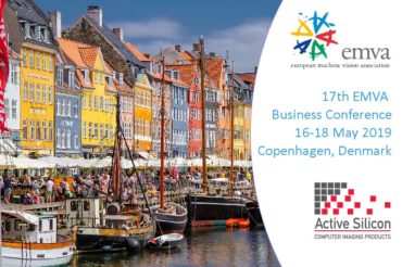 View of the harbour in Copenhagen with EMVA and Active Silicon logos and text which reads 17th EMVA Business Conference, 16-18 May, Copenhagen, Denmark