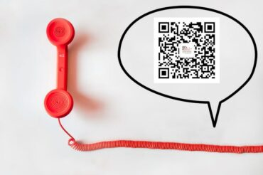 Red telephone receiver with a speech bubble containing the Active Silicon wechat qr code