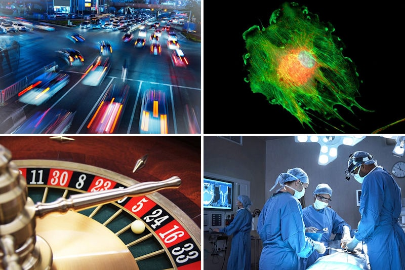 Photos from application areas for computer vision: medical imaging, healthcare, gaming and transport
