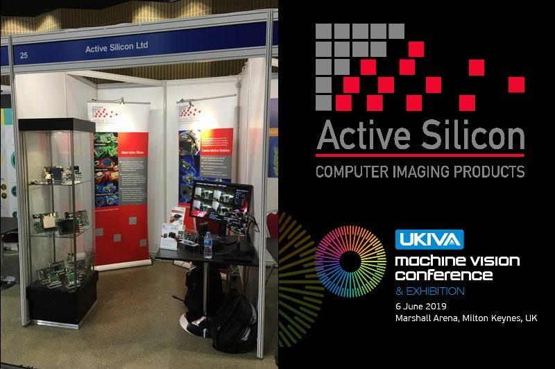 UKIVA logo with Active Silicon logo and photo of Active Silicon's exhibition booth