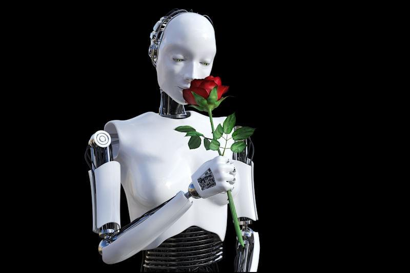 Robotic figure smelling a rose