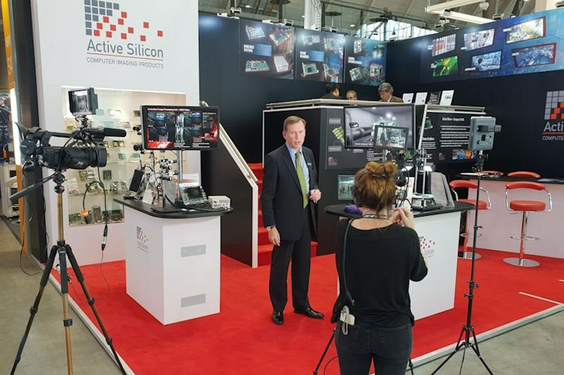 Filming at the Active Silicon exhibition booth