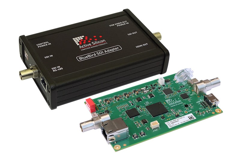 Product photos BlueBird SDI Adapter - a SDI - USB3 / HDMI video capture device; housed and board only