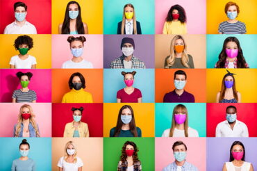Montage of photos of people wearing a face mask