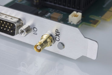 close up of Active Silicon CoaXPress frame grabber showing micro BNC connector