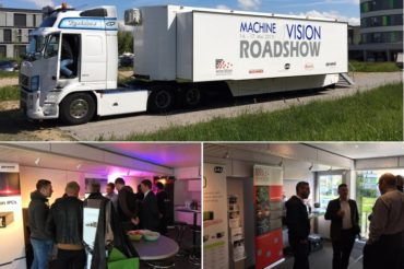 Machine vision roadshow truck and attendees