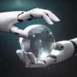 Robot hands and crystal ball