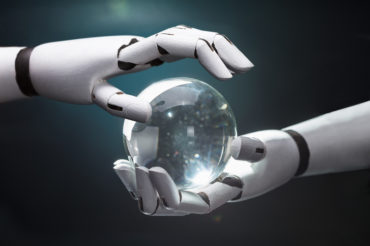 Robot hands and crystal ball