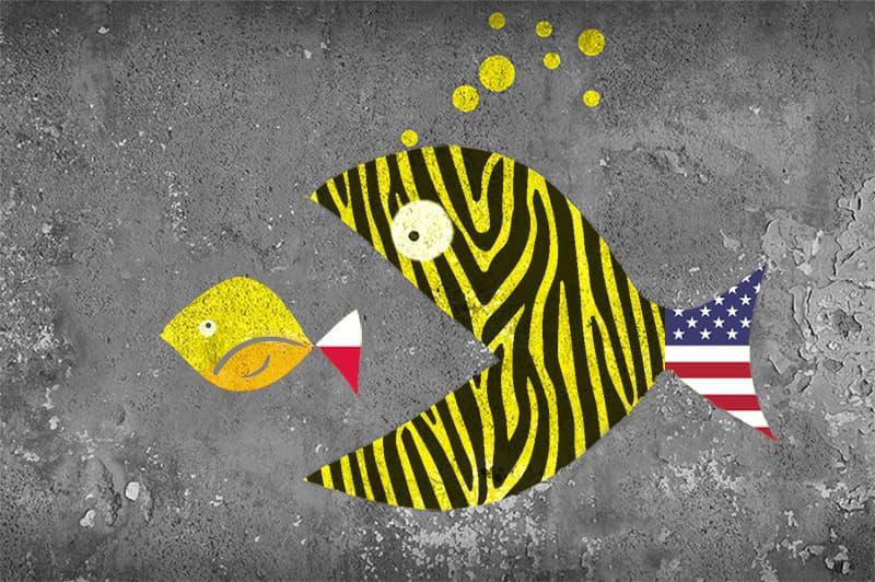 large fish representing Zebra Technologies swallowing small fish representing Adaptive Vision