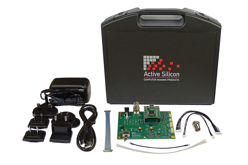 Photo of content and case of the evaluation kit for Harrier 3G-SDI