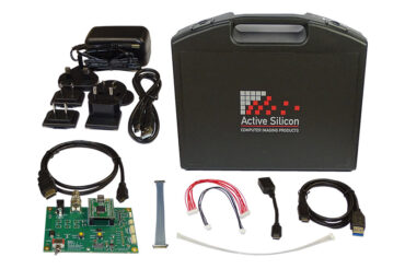 Photo of content and case of the evaluation kit for Harrier USB/HDMI