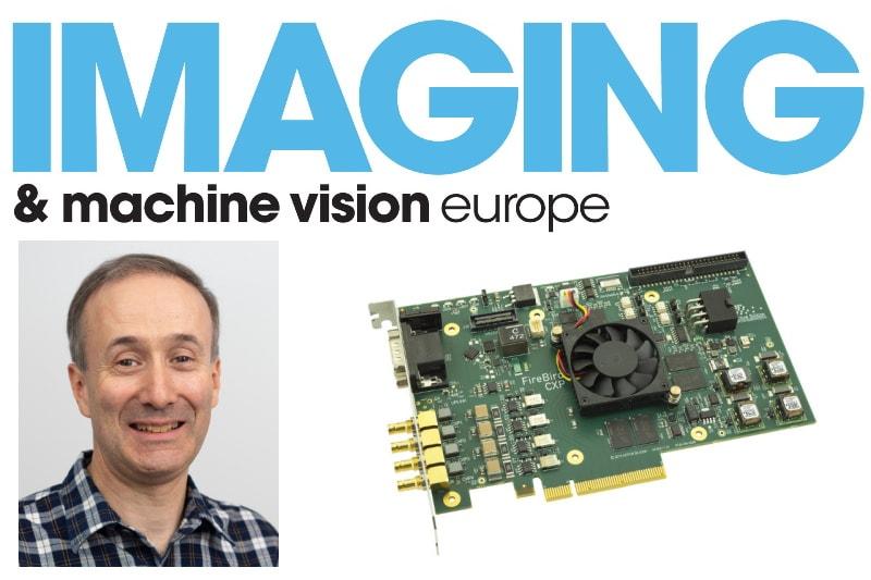 Headshot of Chris Beynon, Active Silicon's 4xCXP-12 frame grabber and IMVE magazine logo